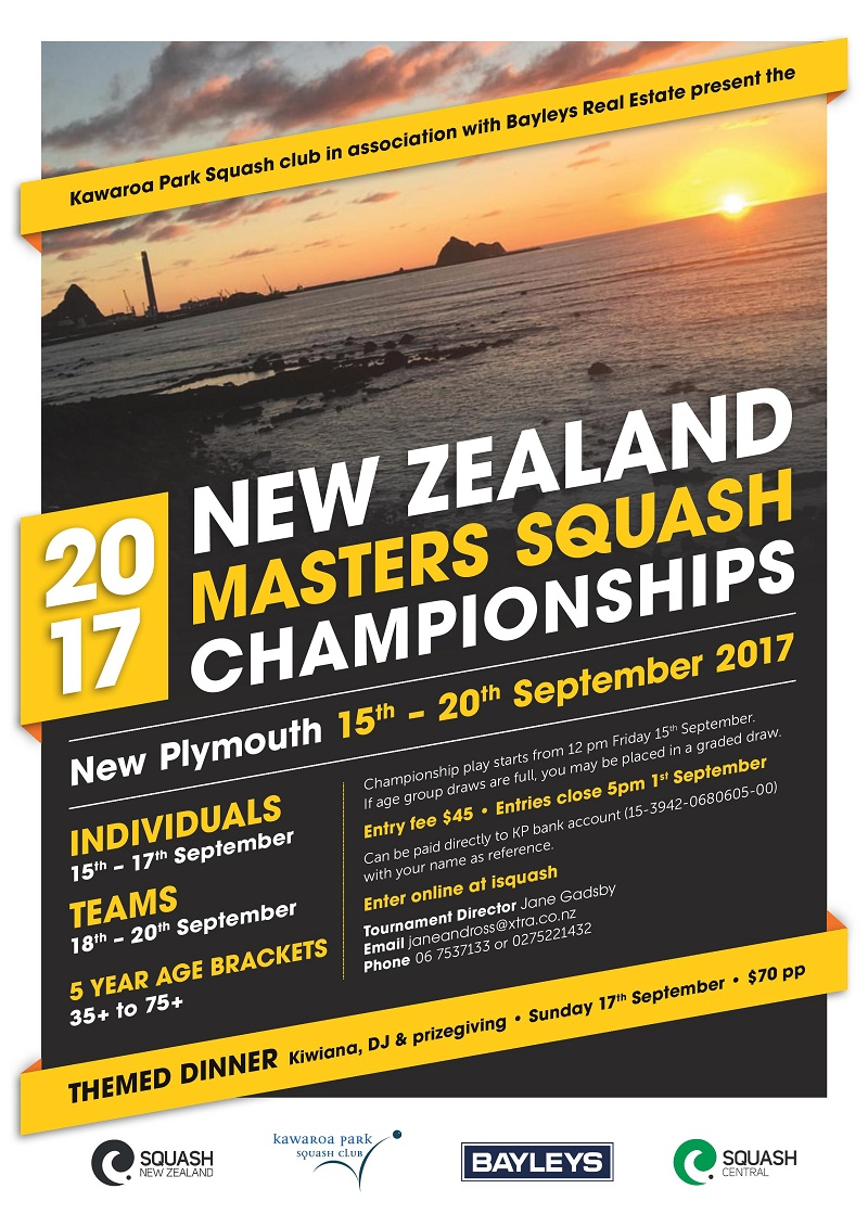 NZ Masters Squash Championships 2017 A4 Poster