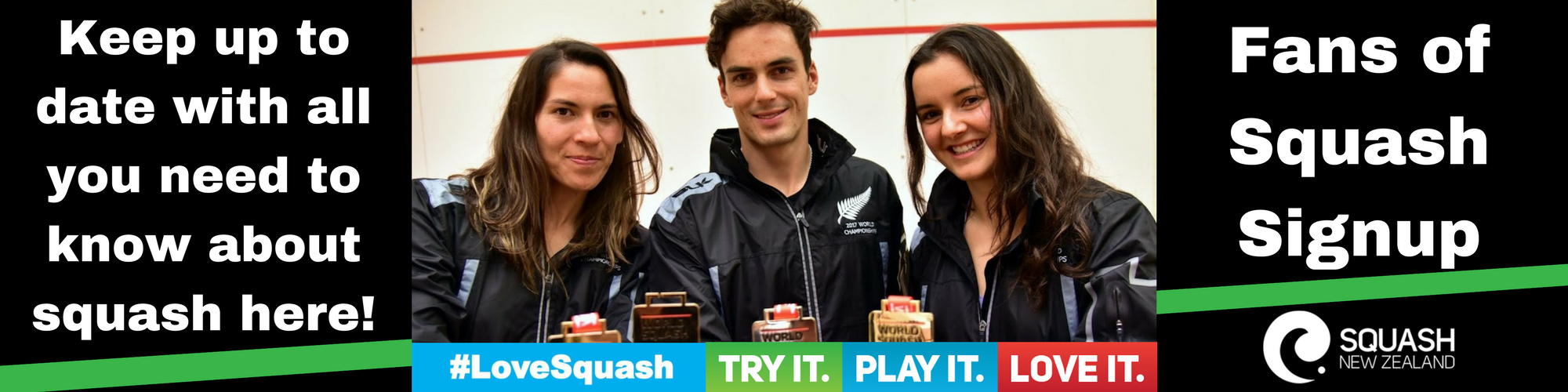 Fans of Squash - SNZ Website Header SIgnup