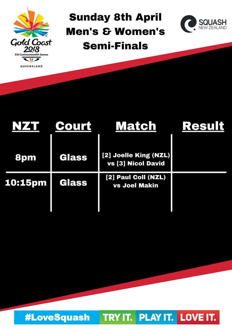 Day 4 (Singles Semis) Schedule