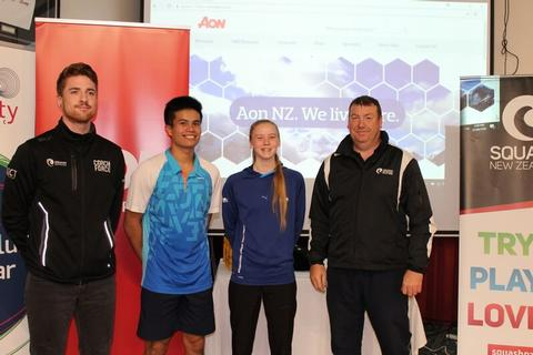 Adam Odering – Squash New Zealand Junior Selector, with 2018 Junior Champs Matthew Lucente and Kaitlyn Watts, Kevin Muir – Squash New Zealand Board member (right).